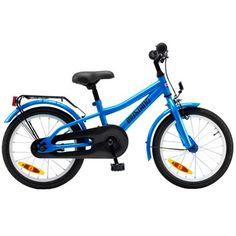"""Tilbud: 900,-  Drengecykel 16"""" - Mustang Lucca - Blå Solid hverdagscykel til børn 4-6 år"""