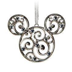 Mickey Mouse Icon Filigree Ornament - Silver