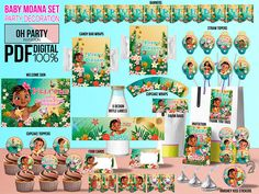 Baby Moana Party Kit DOWNLOAD ONLY Supplies Printables Birthday Invitation Decoration