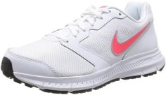Nike Women's Downshifter 6 Running Shoes (7.5, White/LT Magnet Grey/Hyper Punch)