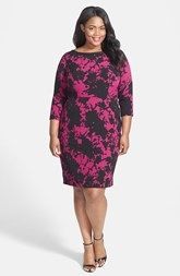 Adrianna Papell Abstract Print Crepe Sheath Dress (Plus Size)