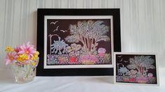 Palm Garden  Original Chalk Art Drawing  Prints  Keepsake