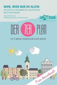 """Im Bauchtascherl großen Tourguide """"Der 7er Plan""""  findest du fünf Themen, fünf Spaziergänge durch Wien Neubau, Postkarten zum Herausnehmen und Verschicken, einen praktischen Faltplan, ein lustiges Fassadenratespiel, das zum Spazieren durch den 7. Bezirk einlädt, und vieles mehr. Hol dir hier den Gratis Download oder die Printversion in einem der teilnehmenden Geschäfte in der Kaiserstraße, Neubaugasse oder Westbahnstraße.  #im7ten #7erPlan #wien #neubau #tourguide #sightseeing #vienna… Gratis Download, Planer, Map, Travel, Ship It, New Construction, Tourism, Tours, Explore"""