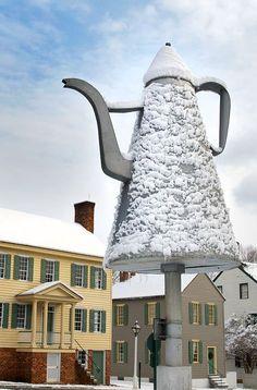 A snowy Salem coffee pot at Old Salem in Winston-Salem, NC