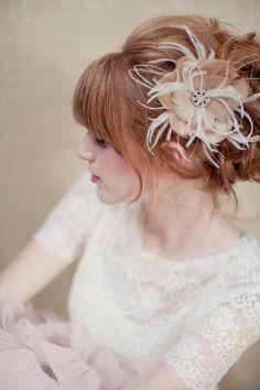 Ultra-Feminine Bridal Updo & Feathery Fascinator