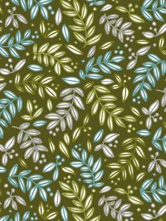 """Olives"" by Lara Brehm Textiles, Textile Patterns, Flower Patterns, Color Patterns, Print Patterns, Flora Flowers, Paper Leaves, Decoupage Paper, Surface Pattern Design"