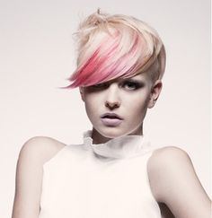 Pink highlight pixie cut