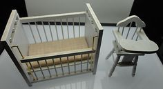 Nursery Baby Crib and High Chair Doll House Miniature furniture. For this and more visit me at www.dandeepop.com