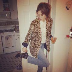 leopard coat + white blouse + jeans