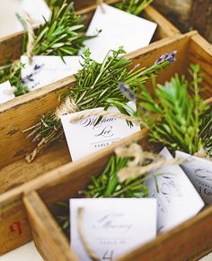 Fresh herb escort cards. Perhaps escort cards are a little OTT for small guest numbers. There's something quite lovely and social about searching for your table place card. That said, we do love the lavendar posies. They could certainly be helpful for large guest lists and can be used table place cards too.