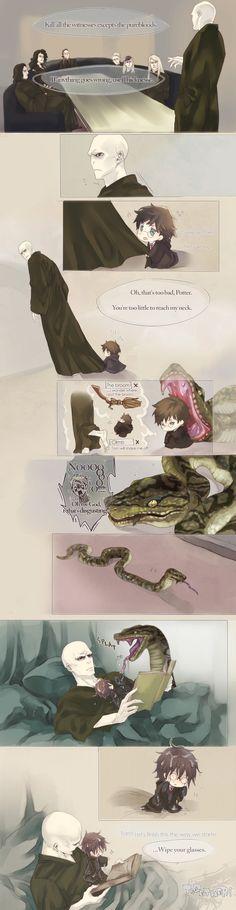hahahahahahaha Tom Riddle and chibi Harry. Snake's Delivery Service by Flayu.deviantart.com on @DeviantArt