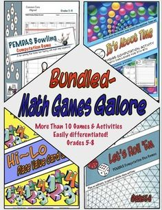 Math Games Galore Bundle is a collection of my favorite math computation, order of operations and place value games. Math Games Galore includes: PEMDAS Order of Operations Bowling Computation Game, Let's Roll 'Em, It's About Time- A PEMDAS Computation Activity, and Hi-Lo Place Value Game.