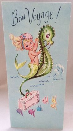 UNUSED Adorable Mermaid Seahorse Pink Suitcase Vintage Bon Voyage Greeting Card