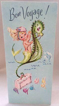 UNUSED Adorable Mermaid Seahorse Pink Suitcase Vintage Bon Voyage Greeting Card