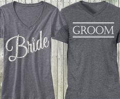 """BRIDE"" Silver Glitter Script Gray V-Neck & ""GROOM"" Gray Shirt - SPECIAL DEAL Perfect for Wedding Events or the Honeymoon! *** Please state the size for the BRIDE + GROOM in the message box during che"