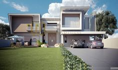 Work for Galleria Designs ( 2 Kanal House ) House Gate Design, Bungalow House Design, Duplex House, Modern House Design, Home Design, Building Elevation, House Elevation, Luxury Floor Plans, Facade House