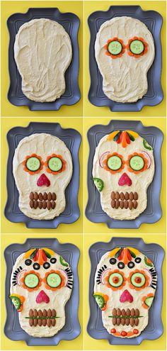 This healthy appetizer idea of Dia de los Muertos Hummus Dip is dressed to impress your guests for your next Halloween party! This healthy appetizer idea of Dia de los Muertos Hummus Dip is dressed to impress your guests for your next Halloween party! Halloween Snacks, Entree Halloween, Comida De Halloween Ideas, Holidays Halloween, Halloween Party, Mexican Halloween, Halloween Potluck Ideas, Halloween Buffet, Healthy Halloween Treats