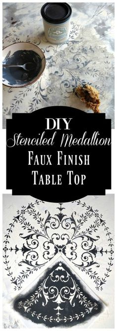 DIY Stenciled Faux Finish Table Top. See the step by step tutorial on the Artisan Enhancements blog! This project features Crackle Tex, The Corner Motif Stencil, and Graphite tinted Scumble Glaze.