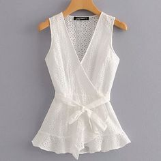 SheIn offers Eyelet Embroidered Wrap Blouse & more to fit your fashionable needs. Blouse And Skirt, Blouse Outfit, Wrap Blouse, Blouse Styles, Blouse Designs, Casual Skirt Outfits, Blouse Online, Mode Inspiration, Ladies Dress Design