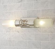 Currently I detest my bathroom lighting. This would be an improvement - Sussex Double Tube Sconce #potterybarn