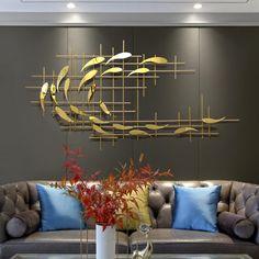 Wall Decor Design, Modern Wall Decor, Metal Wall Decor, Decor Interior Design, Design Desk, Library Design, Modern Contemporary Living Room, Contemporary Kitchens, Metal Flower Wall Art