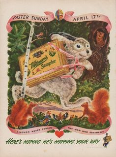 """Description: 1949 WHITMAN'S vintage print advertisement """"Here's Hoping He's Hopping Your Way"""" """"Whitman's Sampler Chocolates. Easter Sunday April A Woman Never Forgets The Man Who Remembers"""" Vintage Candy, Vintage Labels, Vintage Easter, Vintage Christmas, Vintage Thanksgiving, Whitman Sampler, Vintage Food Posters, Wood Owls, Easter Candy"""