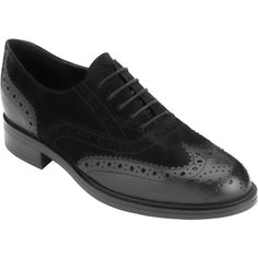 John Lewis Freya Leather Brogues , Black Nubuck (210 BAM) ❤ liked on Polyvore featuring shoes, oxfords, black nubuck, wingtip oxfords, black oxfords, black leather oxfords, black oxford shoes and leather oxford shoes