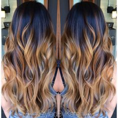 Blonde and caramel Balayage/Ombre over natural brunette hair. Loose curls and long layers. <3 hair by Kate at Mecca. Instagram: StyledByKate_