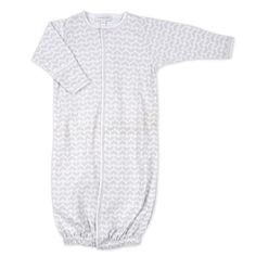 Unisex pima cotton converter baby gown.   Coordinates with other items in the Follow Me Collection Integrated Scratch Mitts in All Sizes Covered Snap Plackets Go from playtime to bedtime with a change of the snaps 100% Pima Cotton Imported, Made in Peru Machine Washable