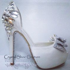 """""""Ashleigh Bling"""" The perfect bridal shoe  Email to order crystalshoecouture@hotmail.com 50 pairs to be pre released before being out up on the website in the new year.  We ship worldwide #bride #bridal #bridesmaid #wedding #custom #handmade #bling #crystalcouture #crystalshoes"""