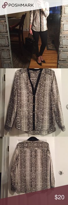 Black and White Snake Skin Patterned Blouse Beautiful black and white silky blouse, snake skinned patterned with gold details (buttons). Tags off but never worn. Purchased at Nordstrom. Size small but fits like a medium Ellen Tracy Tops Blouses