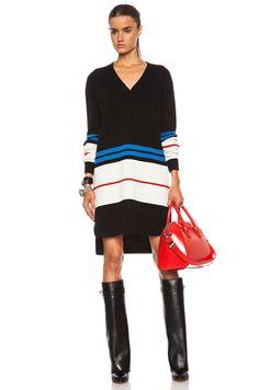 GIVENCHY V-Neck Sweater Wool-Blend Dress in Black