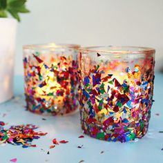 A DIY to spice up a plain set of candle holders with a bit of confetti!