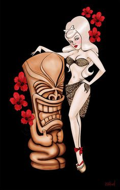 """Tiki Love"" iPhone & iPod Cases by Isobel Von Finklestein Polynesian Designs, Polynesian Culture, Tiki Art, Tiki Tiki, Tiki Tattoo, Rockabilly Art, Tiki Lounge, Under Your Spell, Hula Dancers"