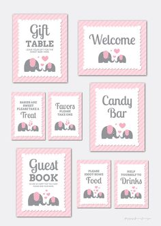 8 Baby Shower Elephant Party Signs Girl Baby by HappyBeesDesign Several Easy Babyshower Game Ideas B Baby Girl Shower Themes, Baby Shower Signs, Baby Shower Favors, Shower Party, Baby Shower Parties, Baby Boy Shower, Shower Gifts, Elephant Party, Elephant Theme
