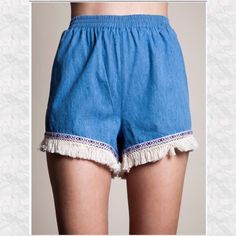 PM Editor & Host PickLight Denim Fringe Shorts Light blue, cotton shorts with purple embroidery & fringe around the legs. Perfect for warm weather. Last pair! 5 ⭐️ rated. Runs true to size. Holds Trades PP outside of posh annABelle's boutique Shorts Jean Shorts