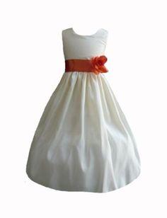 9e15285655 Amazon.com  Classykidzshop Sateen Taffeta Ivory Flower Girl Dress with  Colorful Sash (Baby