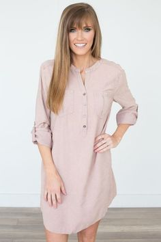 Shop our Stone Washed Shirt Dress in Dusty Rose. Featuring roll tab sleeves and double chest pockets. Always free shipping on all US orders