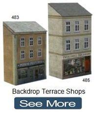 Backdrop Terrace Shops Oo Railways Cardboard In 2020 Plastic Model Kits Model Train Layouts Toy Craft