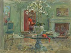 Susan Ryder RP NEAC: The Hall Table Oil on canvas   24 x 32 ins (61 x 81 cms)   £5,800  Framed #interiors #interior #design #home #decorating #interiordesign #luxury #colours #light #shade #lamplight #flowers #art #paintingsforsale #new #exhibition #figurative #painting #British #green #turquoise