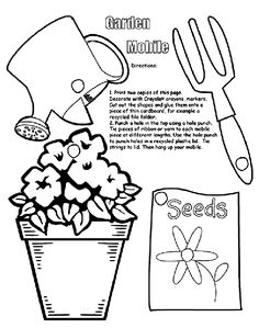 Create and color an adorable spring Garden Mobile to hang in the window!  | free printable coloring pages