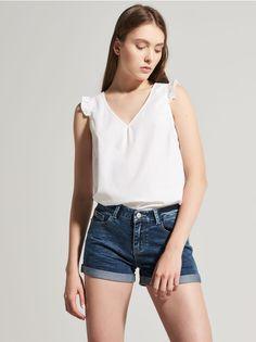 Romantyczna bluzka z rękawem w formie falbany, HOUSE, QX453-00X