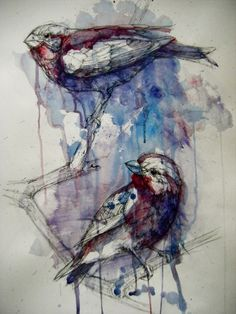Purple Finches by Abby Diamond