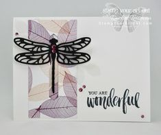 Another dragonfly closure card! This time I used the new Rooted In Nature stamp set and Nature's Poem designer paper along with the Detailed Dragonfly thinlits…#stampyourartout #stampinup - Stampin' Up!® - Stamp Your Art Out! www.stampyourartout.com