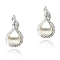 Glitzy Rocks Silver FW Pearl and Diamond Accent Swirl Infinity... (€19) ❤ liked on Polyvore