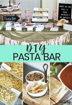 You Need This Pasta Bar At Your Next Party Introducing a Bar that is as unique and special as the friendships we make. Check out this DIY Pasta Bar guide complete with party decoration ideas, pasta recipes and shopping tips. Pasta Bar Party, Party Food Bars, Dinner Party Foods, Team Dinner, Dinner Parties, Dinner Themes, Dinner Buffet Ideas, Themes For Parties, Unique Party Themes