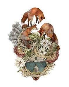 House of Fox // 8x10 Art Print // Woodland Illustration: