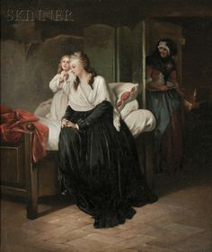 Marie Antoinette praying with Dauphin in the Temple prision.