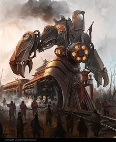 Steampunk'd is the best place where you can find images, videos, photos, books and information related to the steampunk, dieselpunk and atompunk subcultures. Robots Steampunk, Steampunk Kunst, Steampunk Characters, Fantasy Characters, Steampunk Artwork, Diesel Punk, Sci Fi Fantasy, Fantasy World, Art Cyberpunk