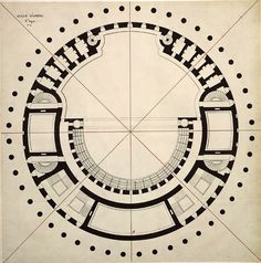"premoderno: ""Étienne-Louis Boullée   Opera del Carrusel [primer proyecto]   Opéra au Carrousel  1782 """